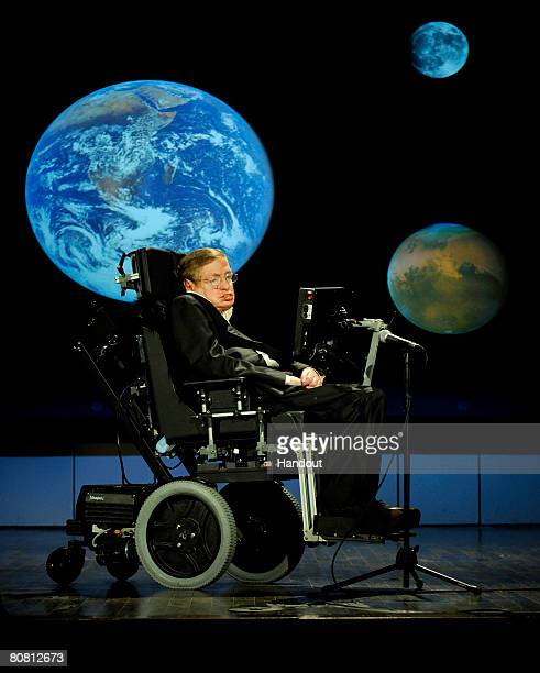 Dr Stephen Hawking professor of mathematics at the University of Cambridge delivers a speech entitled 'Why we should go into space' during a lecture...