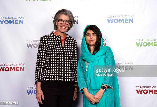 Dr. Susan A. Miele and Co-founder of Malala Fund and a Nobel Laureate Malala Yousafzai pose for a photo backstage during Massachusetts Conference For...