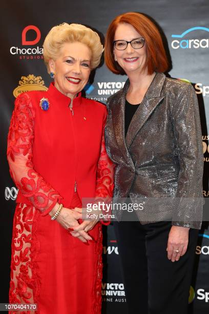 Dr Susan Alberti AC and the Hon Julia Gillard AC attend the Prime Ministers' Sporting Oration at The Melbourne Convention and Exhibition Centre on...