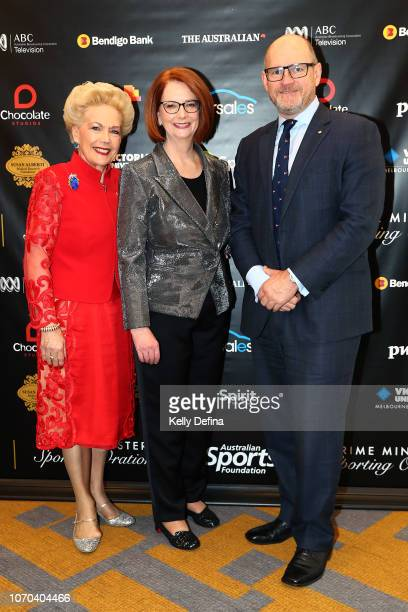 Dr Susan Alberti AC the Hon Julia Gillard AC and Dr Campbell A Rose AM attend the Prime Ministers' Sporting Oration at The Melbourne Convention and...