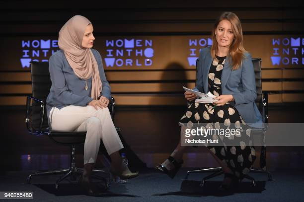 Dr Suzanne Barakat and Katy Tur speak onstage at the 2018 Women In The World Summit at Lincoln Center on April 14 2018 in New York City