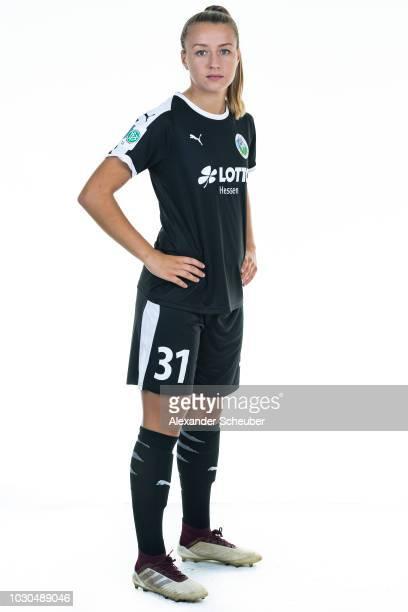 Dr Tanja Pawollek poses during the 1 FFC Frankfurt Women's team presentation on September 7 2018 in Frankfurt am Main Germany i