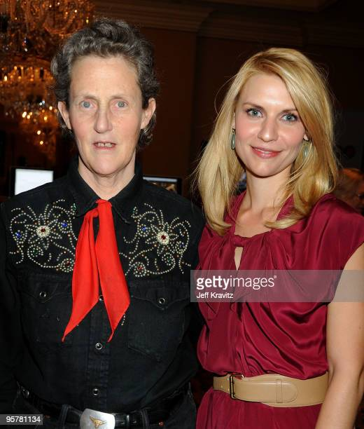 Dr Temple Grandin and actress Claire Danes pose during the HBO portion of the 2010 Television Critics Association Press Tour at the Langham Hotel on...