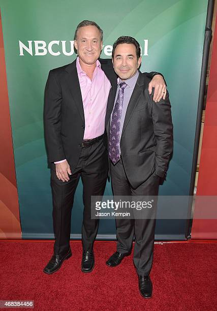Dr Terry Dubrow and Dr Paul Nassif attend the 2015 NBCUniversal Summer Press Day at the Langham Hotel on April 2 2015 in Pasadena California