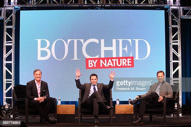 Dr Terry Dubrow Dr Paul Nassif and executive producer Matt Westmore speak onstage at the 'Botched by Nature' panel discussion during the NBCUniversal...