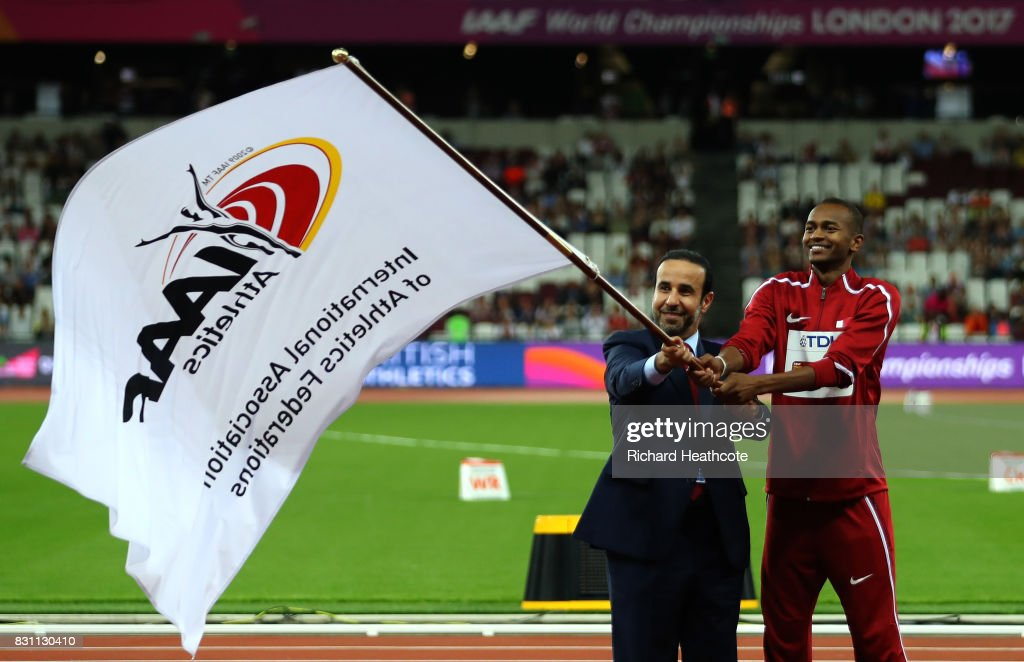 H.E. Dr Thani Abdulrahman Al Kuwari, Vice-President IAAF World Championships Doha 2019 and President Qatar Athletics Federation and Mutaz Essa Barshim of Qatar participate in the handover ceremony during day ten of the 16th IAAF World Athletics Championships London 2017 at The London Stadium on August 13, 2017 in London, United Kingdom.