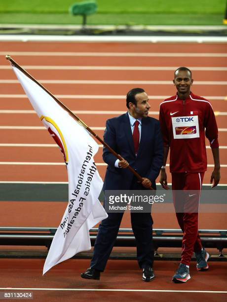 Dr Thani Abdulrahman Al Kuwari, Vice-President IAAF World Championships Doha 2019 and President Qatar Athletics Federation and Mutaz Essa Barshim of...