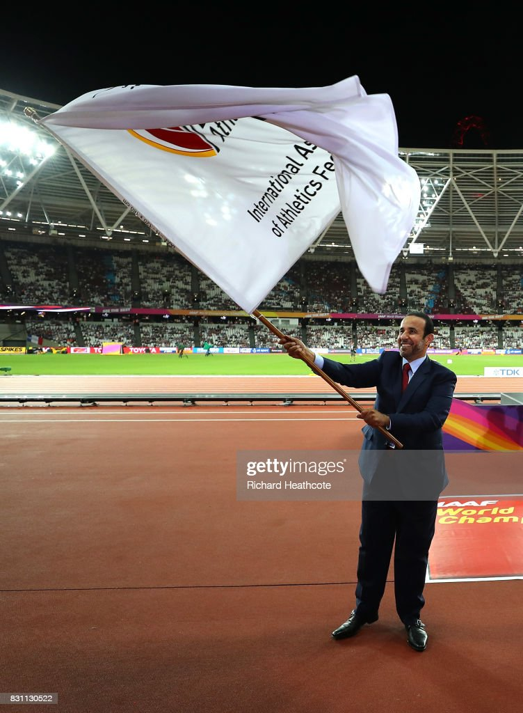 H.E. Dr Thani Abdulrahman Al Kuwari, Vice-President IAAF World Championships Doha 2019 and President Qatar Athletics Federation participates in the handover ceremony during day ten of the 16th IAAF World Athletics Championships London 2017 at The London Stadium on August 13, 2017 in London, United Kingdom.