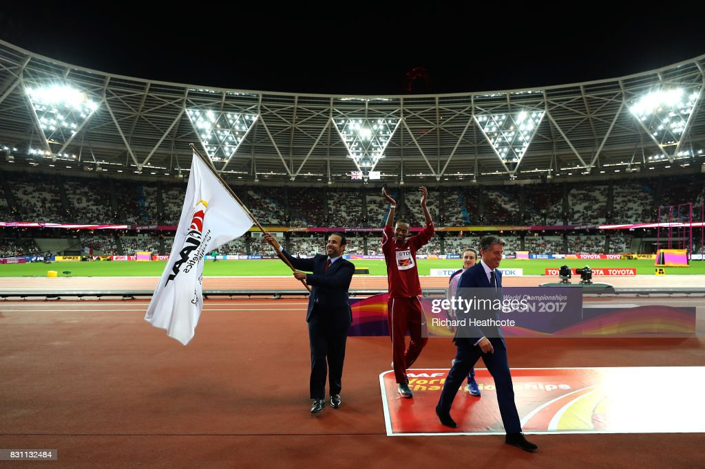 H.E. Dr Thani Abdulrahman Al Kuwari, Vice-President IAAF World Championships Doha 2019 and President Qatar Athletics Federation, IAAF President Sebastian Coe, Mutaz Essa Barshim of Qatar and Laura Muir of Great Britain participate in the handover ceremony during day ten of the 16th IAAF World Athletics Championships London 2017 at The London Stadium on August 13, 2017 in London, United Kingdom.