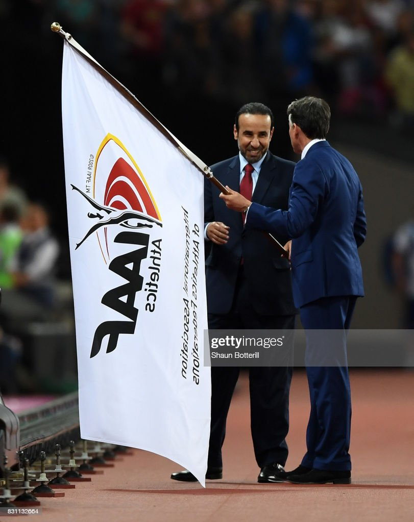 H.E. Dr Thani Abdulrahman Al Kuwari, Vice-President IAAF World Championships Doha 2019 and President Qatar Athletics Federation and IAAF President Sebastian Coe participate in the handover ceremony during day ten of the 16th IAAF World Athletics Championships London 2017 at The London Stadium on August 13, 2017 in London, United Kingdom.