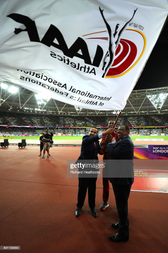 H.E. Dr Thani Abdulrahman Al Kuwari, Vice-President IAAF World Championships Doha 2019, IAAF vice-president Dahlan Al Hamad and Mutaz Essa Barshim of Qatar participate in the handover ceremony during day ten of the 16th IAAF World Athletics Championships London 2017 at The London Stadium on August 13, 2017 in London, United Kingdom.