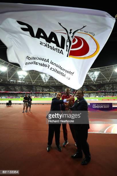 Dr Thani Abdulrahman Al Kuwari, Vice-President IAAF World Championships Doha 2019, IAAF vice-president Dahlan Al Hamad and Mutaz Essa Barshim of...