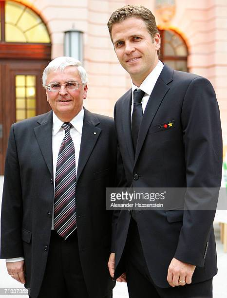 Dr. Theo Zwanziger president of the German Football Federation poses with Oliver Bierhoff manager of the german National Team during the Reception of...
