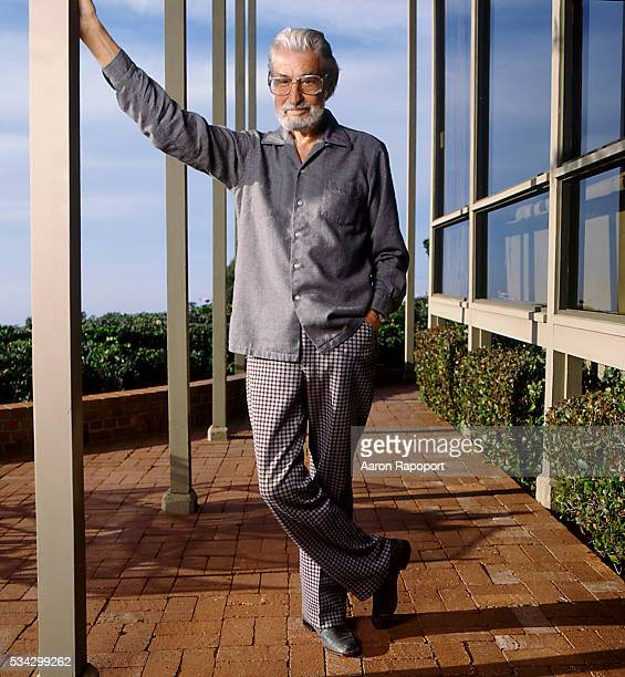 Dr Theodore Geisel otherwise known as Doctor Seuss on the patio of his home