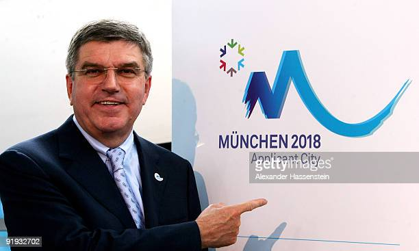 Dr. Thomas Bach, President of the German Olympic Sports Confederation and Chairman of the General Assembly of Munich 2018 Bid Comittee poses during...