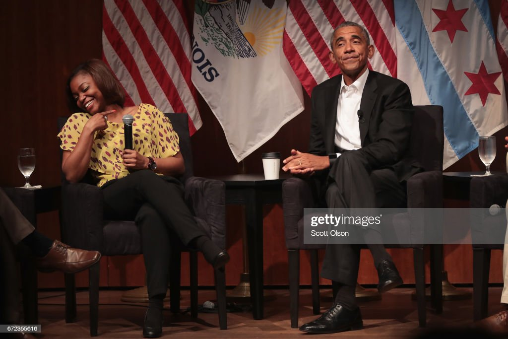 Dr Tiffany Brown laughs as she relates her first experience meeting former U.S. President Barack Obama during a forum at the University of Chicago held to promote community organizing on April 24, 2017 in Chicago, Illinois. The visit marks Obama's first formal public appearance since leaving office.