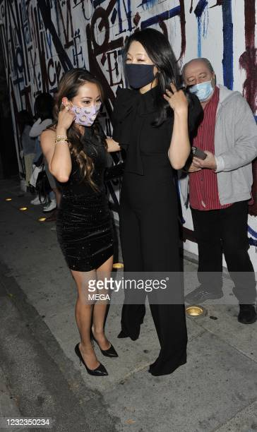 """Dr. Tiffany Moon from Bravo's """"The Real Housewives of Dallas"""" is seen at Craig's in West Hollywood with """"The Real Housewives of Beverly Hills"""" new..."""