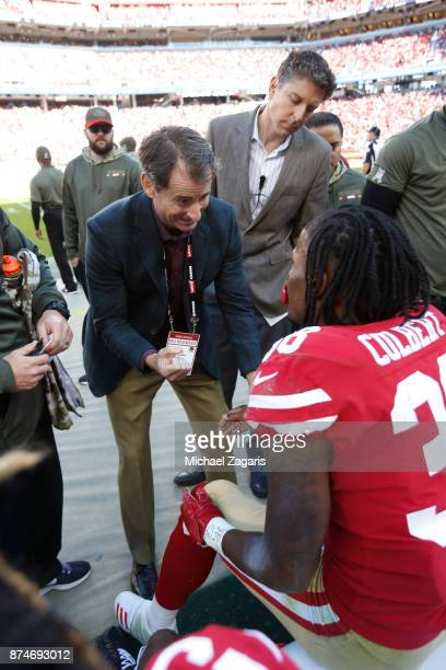 Dr Tim McAdams of the San Francisco 49ers looks at Adrian Colbert during the game against the New York Giants at Levi's Stadium on November 12 2017...
