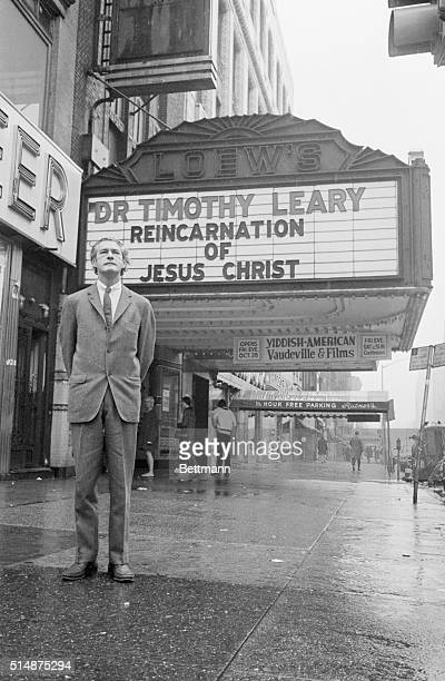Dr Timothy Leary stands below the marquee for the opening of his second celebration and explains his orthodox psychedelic religion known as the...