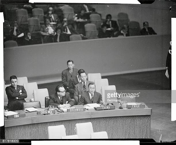 Dr Tingfu F Tsiang Representative of Nationalist China to the UN is shown as he attacked the Resolution to admit 13 free nations and five Russian...