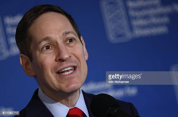 Dr Tom Frieden director of the Centers for Disease Control and Prevention delivers remarks during a press conference September 29 2016 in Washington...