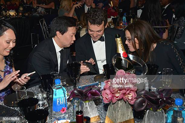 Dr Tran Jeong actor Ken Jeong actor/director Fred Savage and Jennifer Lynn Stone at the 21st Annual Critics' Choice Awards presented by FIJI Water at...