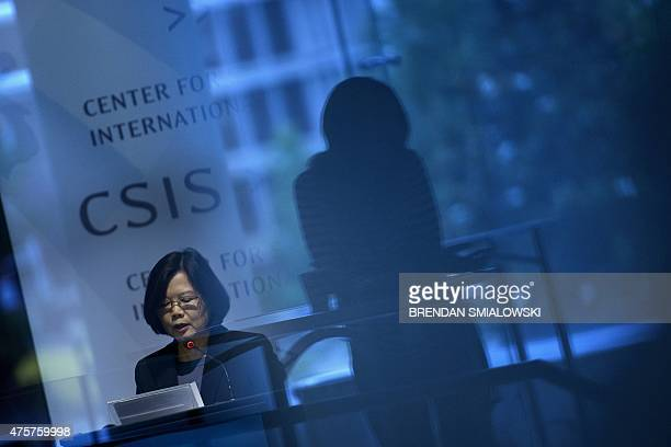 Dr Tsai Ingwen Chair of Taiwan's Democratic Progressive Party and a presidential nominee speaks during an event at the Center for Strategic and...