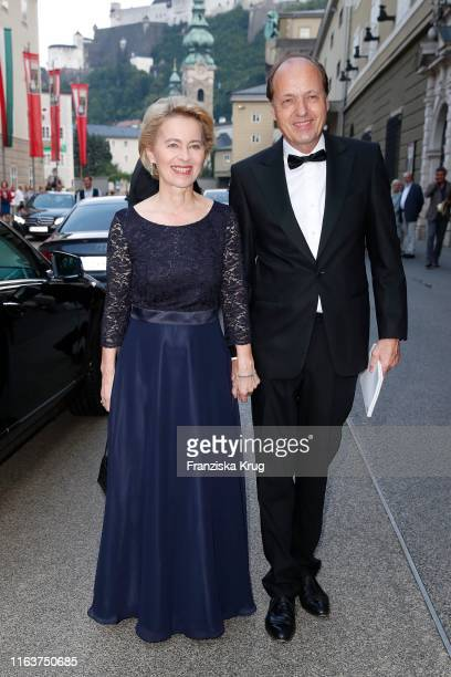 Dr Ursula von der Leyen and Heiko von der Leyen arrive for the opera Simon Boccanegra during the Salzburg Festival on August 24 2019 in Salzburg...