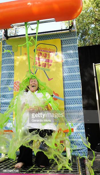 Dr Virgina Abernathy principal of Enterprise Elementary gets slimed at the SpongeBob Playground Opening Celebration at Enterprise Elementary School...