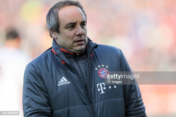 Dr Volker Braun of Bayern Muenchen looks on during the Bundesliga match between FC Ingolstadt 04 and Bayern Muenchen at Audi Sportpark on February 11...