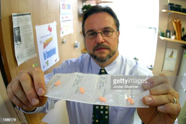 Dr Warren Bickel shows a sample of the opiate withdrawal drug Bupenorphine at a clinic November 4 2002 at the University of Vermont at Burlington An...