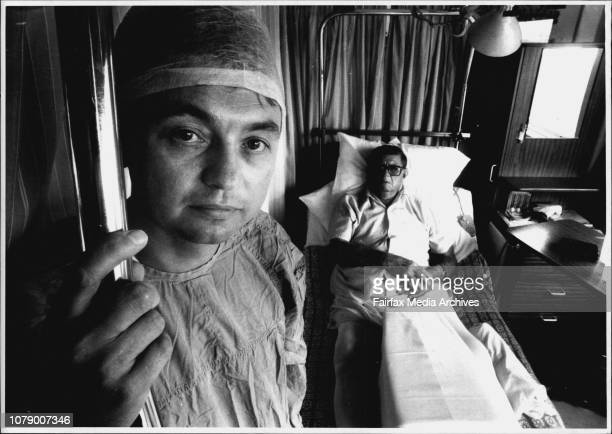 Dr Warwick Bruce of Concord hospital and Cadaveric bone replacement patient Mr Wallace Ashton 1 week after hip replacement February 10 1993
