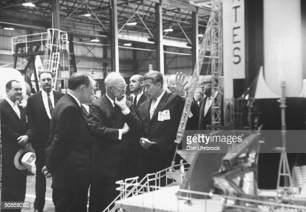 Dr Wernher Von Braun with Pres Dwight D Eisenhower and Karl Heimburg at dedication of Marshall Space Flight Center