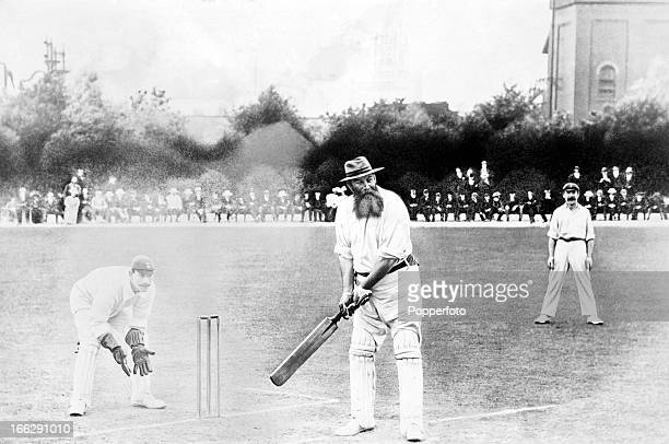 Dr WG Grace batting for the London County cricket team against Derbyshire at Chesterfield, 8th August 1904. Derbyshire won by 139 runs.