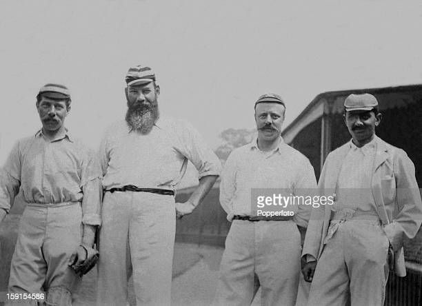 Dr WG Grace of the London County cricket team at Crystal Palace with William Murdoch, Kumar Shri Ranjitsinhji and CW Wright, circa 1901. Left to...