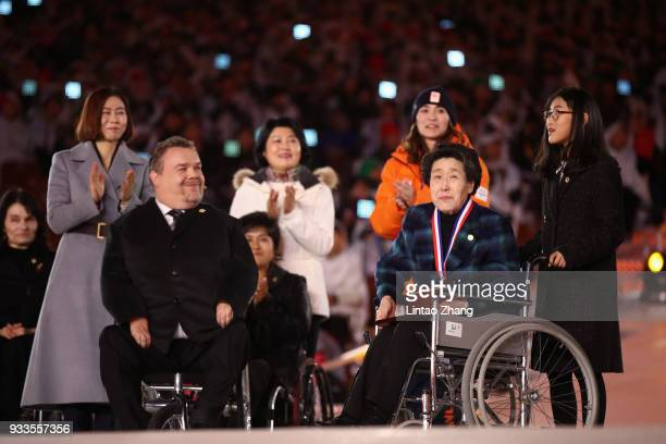 Dr Whang Youn Dai appears at the Whang Youn Dai Awards during the closing ceremony of the PyeongChang 2018 Paralympic Games at the PyeongChang...