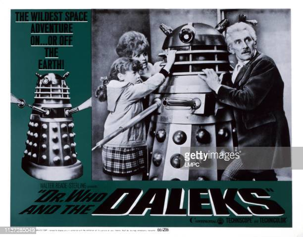 Dr Who And The Daleks lobbycard from left Roberta Tovey Jennie Linden Peter Cushing 1965
