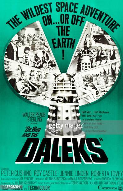 Dr. Who And The Daleks, poster, top l-r: Peter Cushing, Jennie Linden, Roberta Tovey on poster art, 1965.