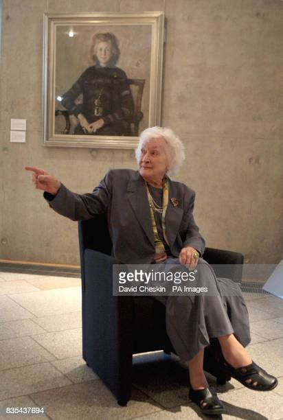 Dr Winnie Ewing at the unveiling of her portrait at the Scottish parliament Edinburgh