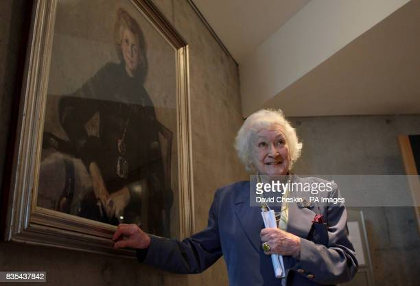 Dr Winnie Ewing at the unveiling of her portrait at the Scottish parliament Edinburgh.