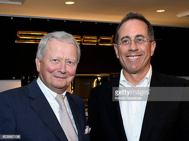 Dr Wolfgang Porsche and Jerry Seinfeld attend the opening of the Porsche Experience Center Los Angeles on November 15 2016 in Carson California