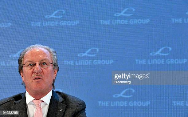 Dr Wolfgang Reitzle chief executive officer of Linde AG speaks at the presentation of the company's 2008 results in Munich Germany on Monday March 16...