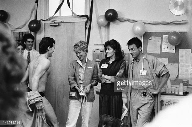 """Dr. Wyler, I Presume"""" Episode 13 -- Pictured: Read Scot as male stripper, Jennifer Savidge as nurse Lucy Papandrao, Cynthia Sikes as Dr. Annie..."""