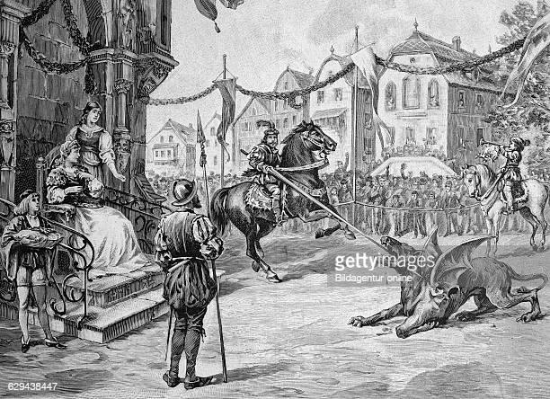 Drachenstich traditional folk play in furth im wald bavaria germany historical illustration circa 1893