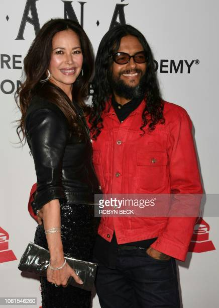 Draco Rosa and Angela Alvarado arrive for the 2018 Latin Recording Academy Person of the Year gala honoring Mexican rock band Mana in Las Vegas...