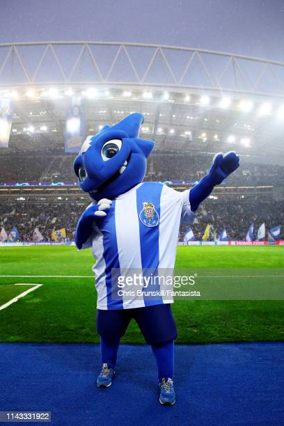 Draco the FC Porto mascot entertains the crowd before the UEFA Champions League Quarter Final second leg match between Porto and Liverpool at Estadio...
