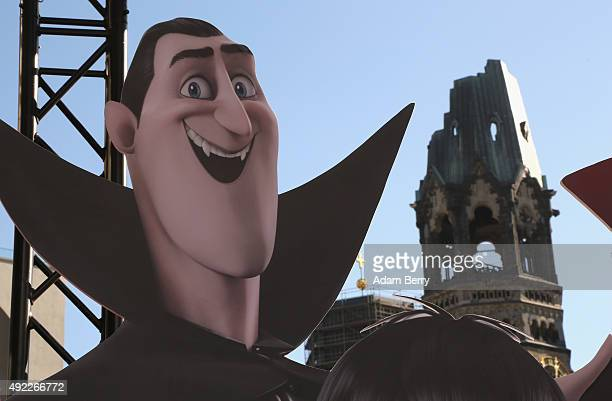 Dracula cutout is seen in front of the KaiserWilhelmGedaechtniskirche during the German premiere for the film 'Hotel Transsilvanien 2' at Zoo Palast...