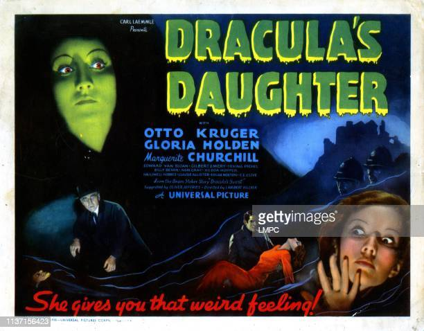 Dracula's Daughter lobbycard from left Gloria Holden Edward Van Sloan Marguerite Churchill 1936