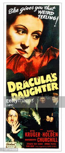 Dracula's Daughter poster top Gloria Holden bottom from left Marguerite Churchill Irving Pichel Otto Kruger on 1949