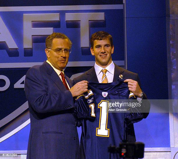 Draft first overall pick Eli Manning with NFL Commisioner Paul Tagliabue at Madison Square Garden in New York April 24 Manning shown with San Diego...